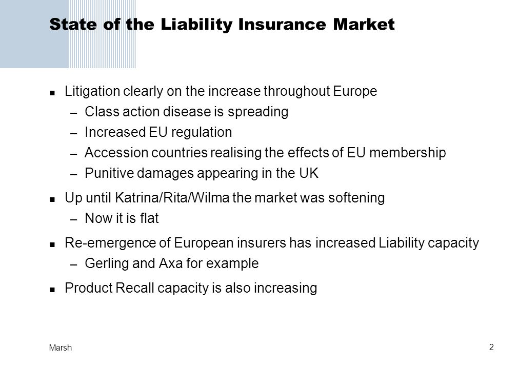 State of the Liability Insurance Market