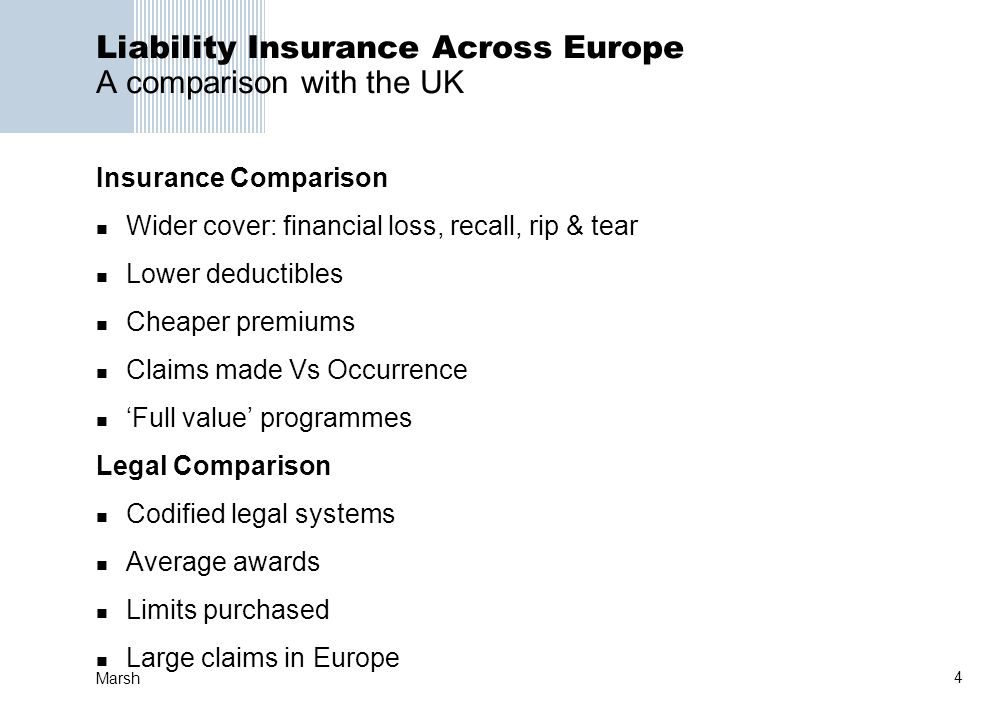 Liability Insurance Across Europe A comparison with the UK