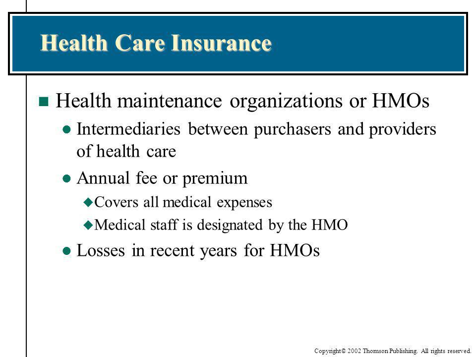 Health Care Insurance Health maintenance organizations or HMOs