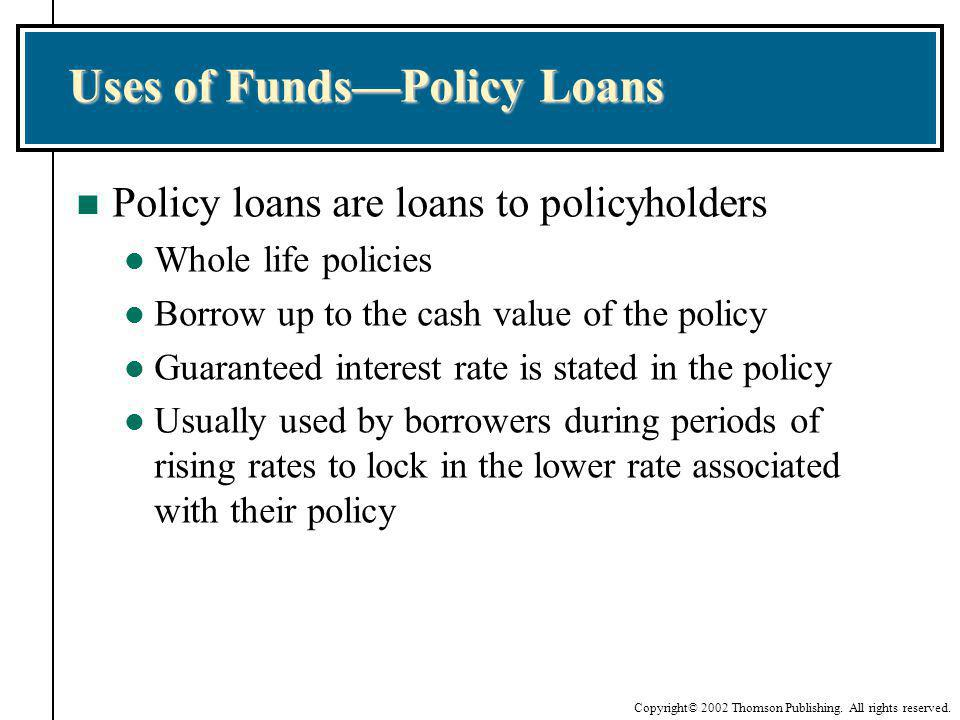 Uses of Funds—Policy Loans