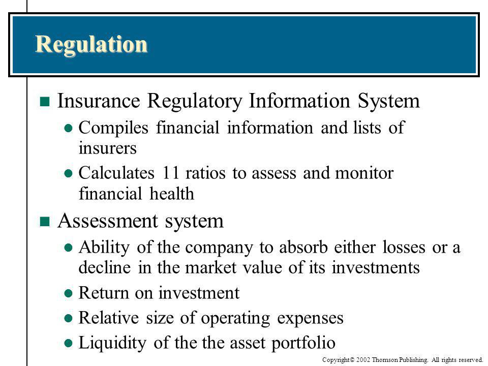 Regulation Insurance Regulatory Information System Assessment system