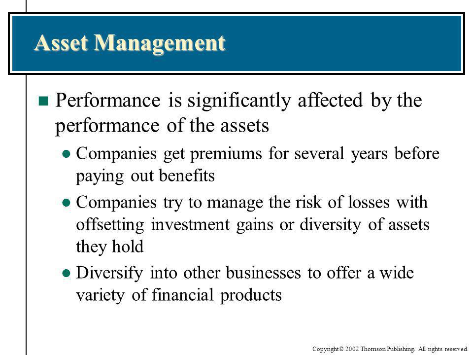 Asset Management Performance is significantly affected by the performance of the assets.