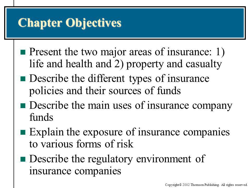 Chapter Objectives Present the two major areas of insurance: 1) life and health and 2) property and casualty.