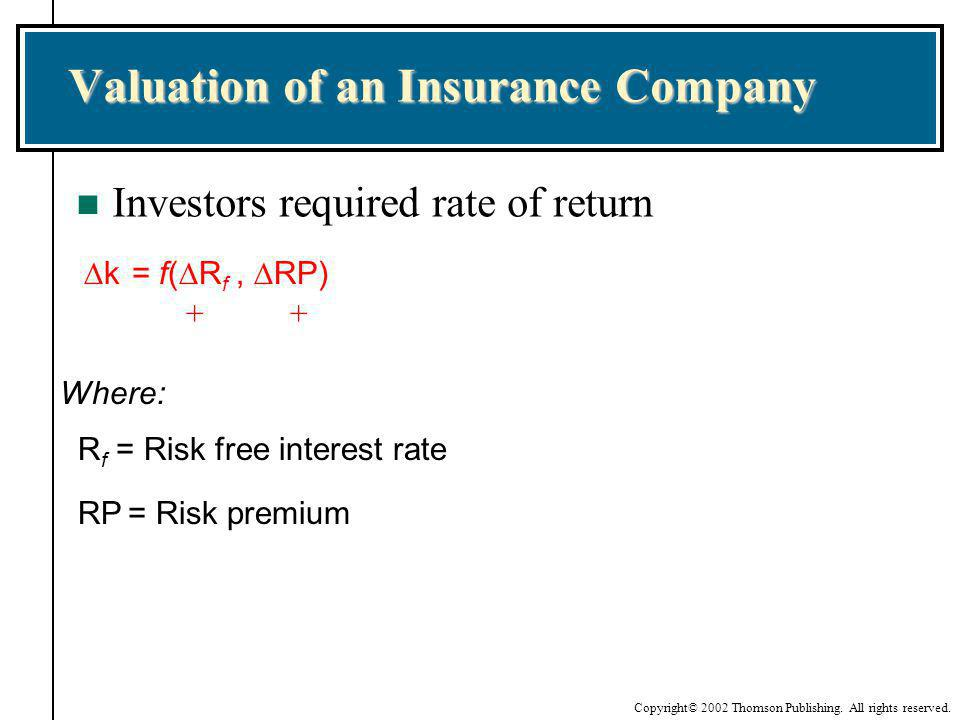 Valuation of an Insurance Company