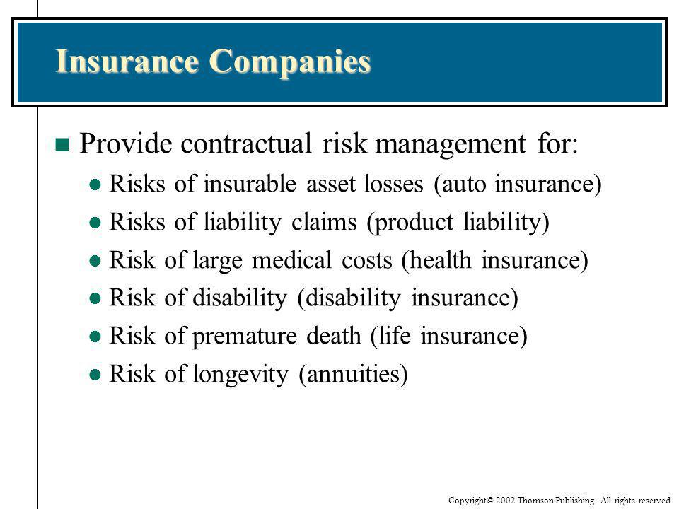 Insurance Companies Provide contractual risk management for: