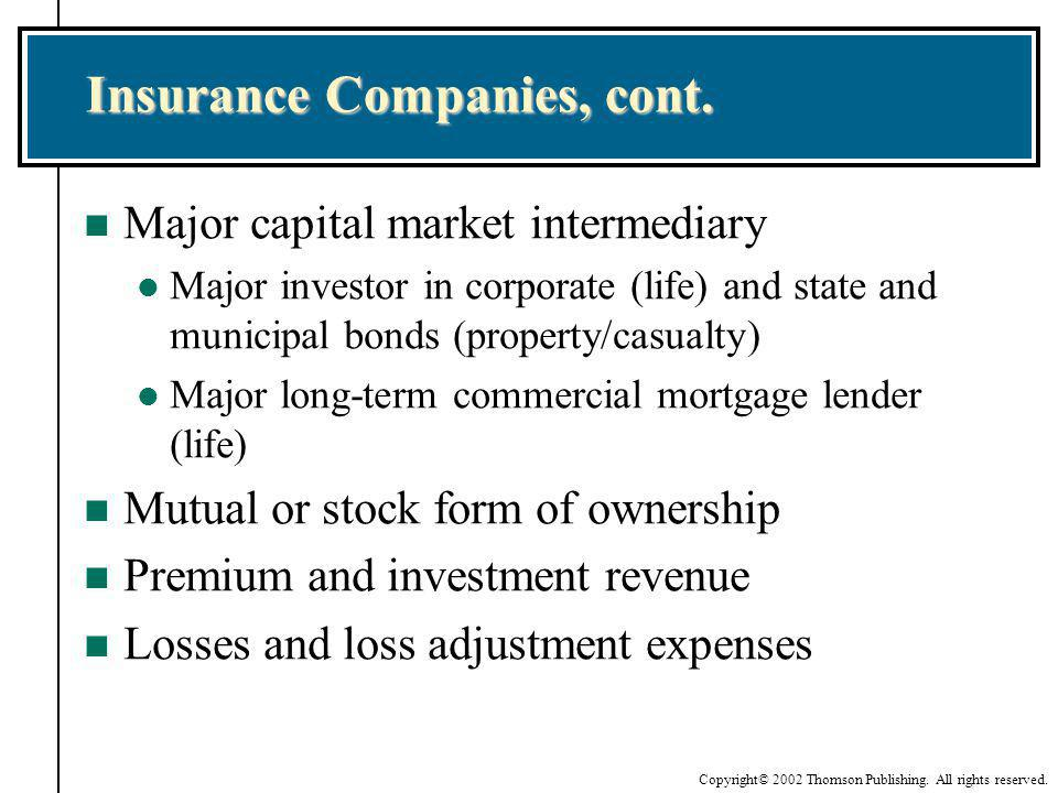 Insurance Companies, cont.