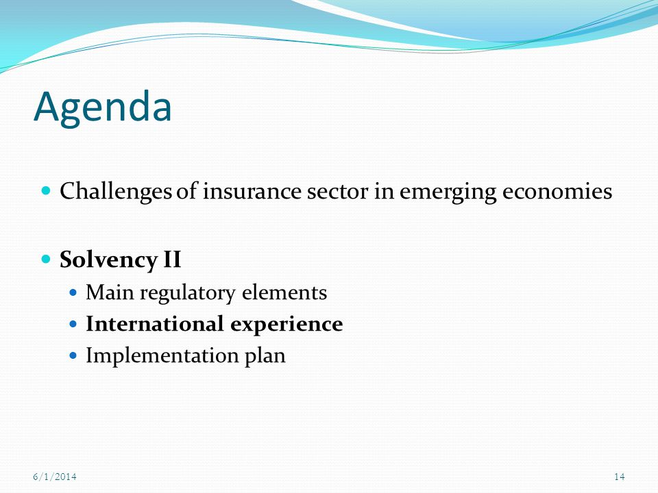 Agenda Challenges of insurance sector in emerging economies