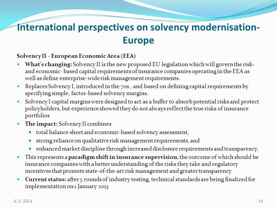 International perspectives on solvency modernisation- Europe
