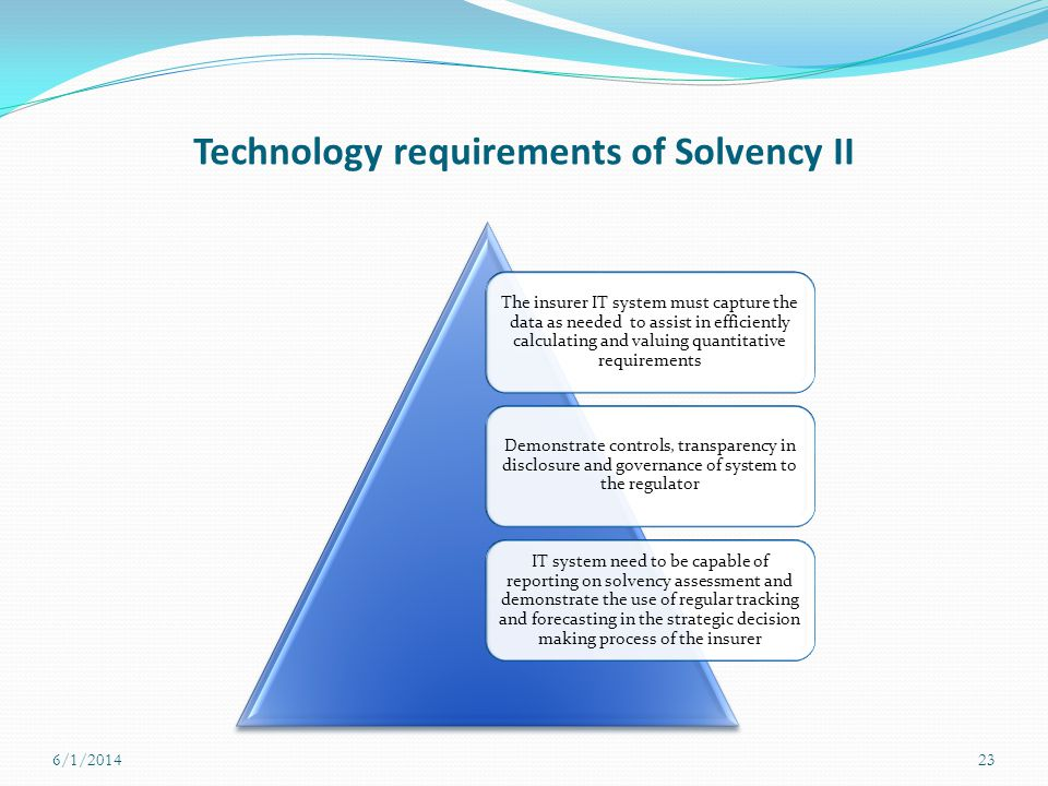 Technology requirements of Solvency II