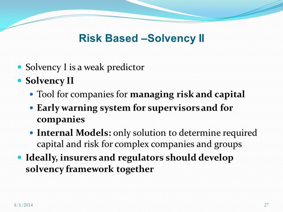 Risk Based –Solvency II