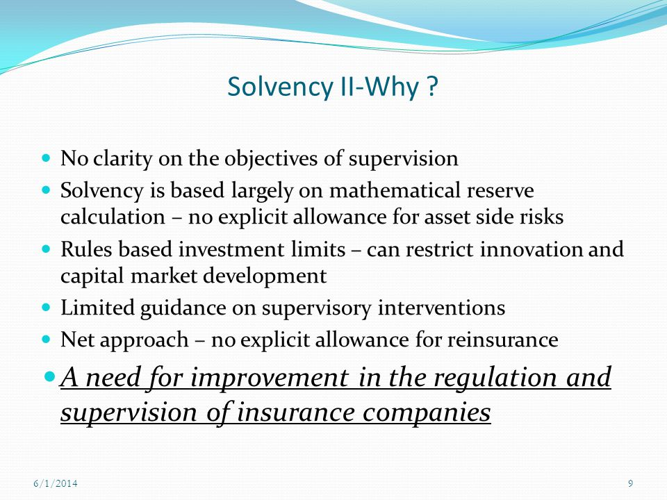 Solvency II-Why No clarity on the objectives of supervision.
