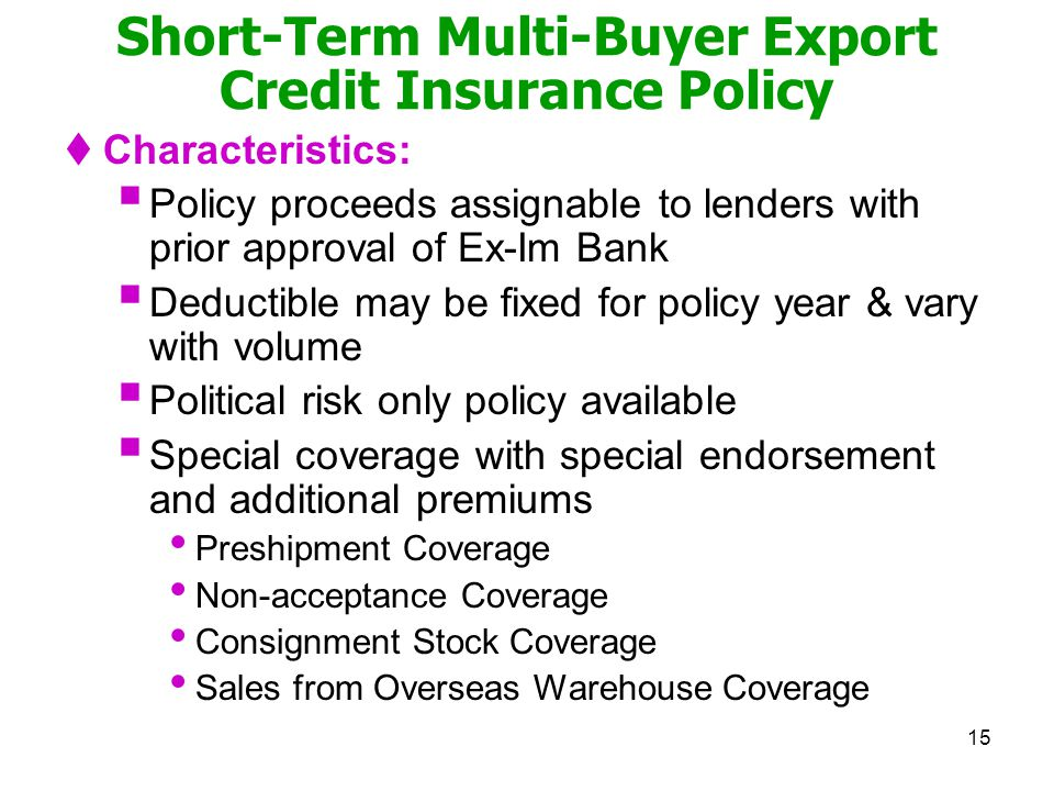 Short-Term Multi-Buyer Export Credit Insurance Policy