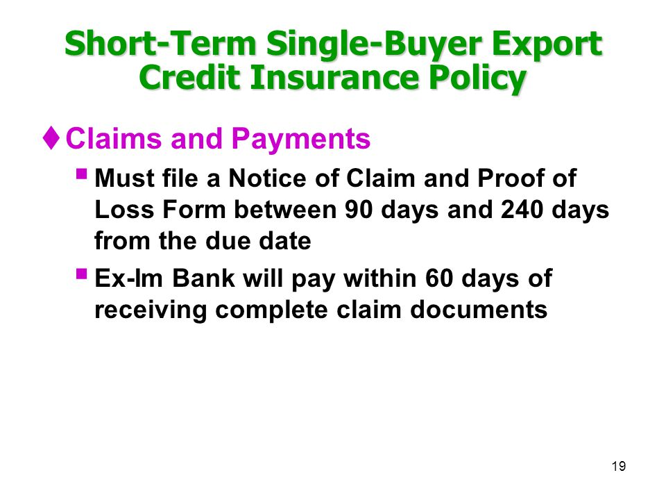 Short-Term Single-Buyer Export Credit Insurance Policy
