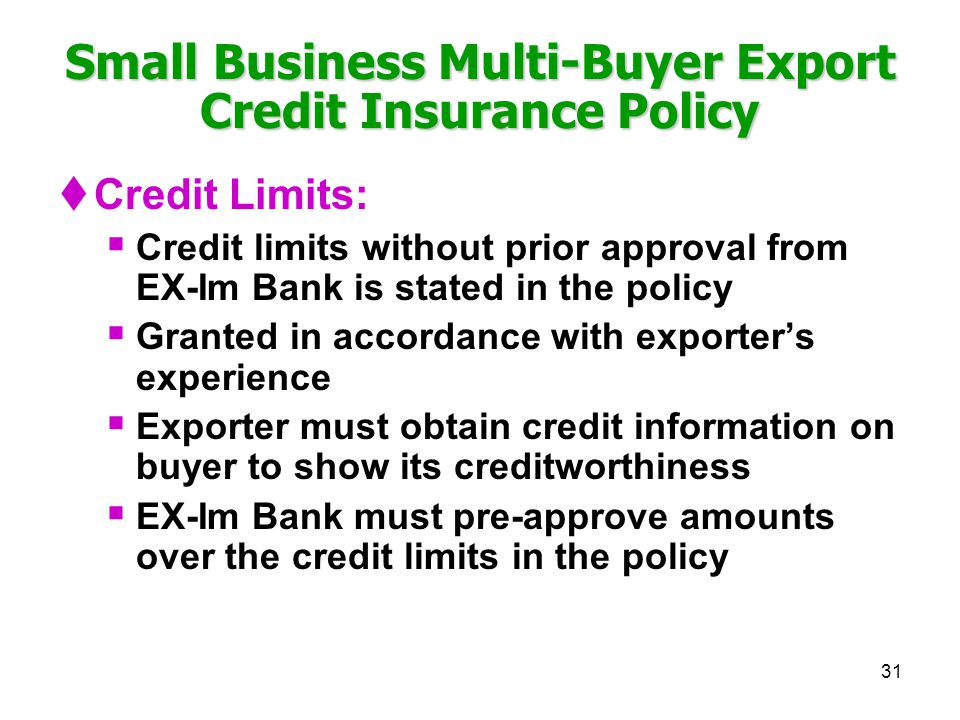 Small Business Multi-Buyer Export Credit Insurance Policy