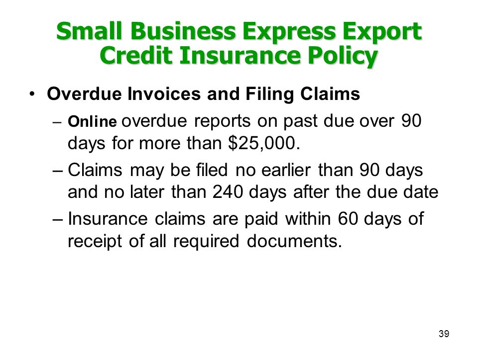 Small Business Express Export Credit Insurance Policy