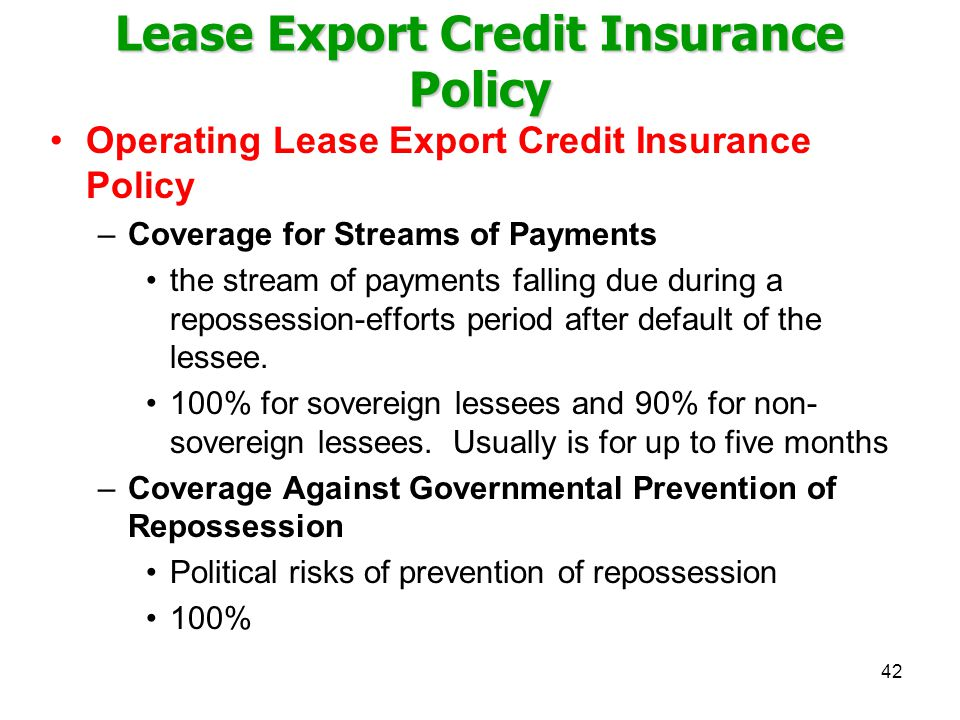 Lease Export Credit Insurance Policy