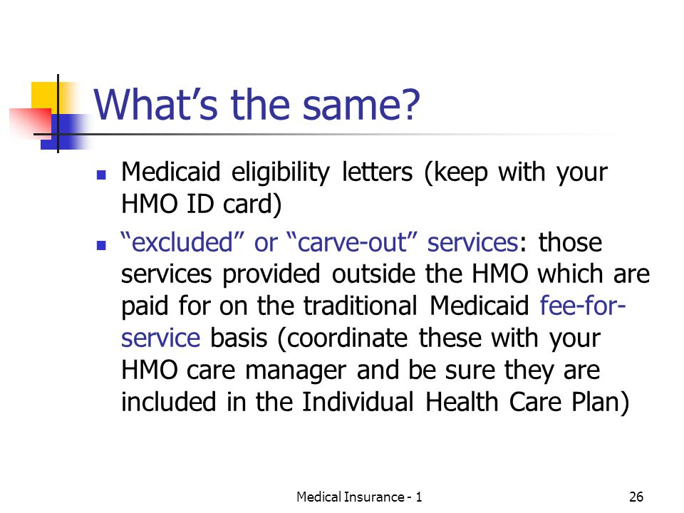What's the same Medicaid eligibility letters (keep with your HMO ID card)