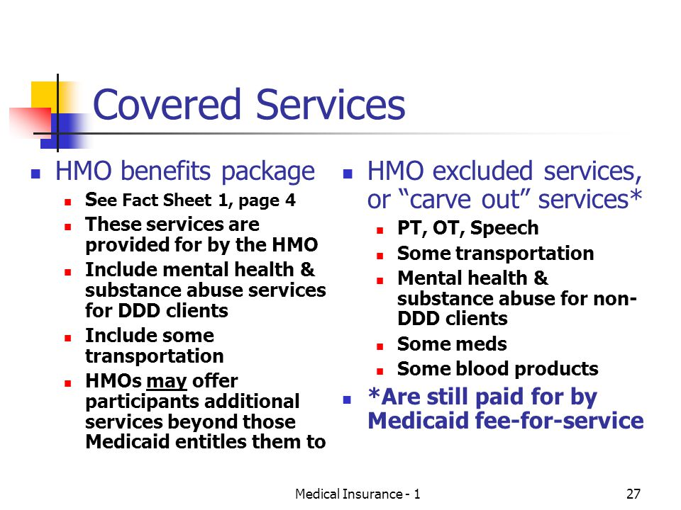 Covered Services HMO benefits package