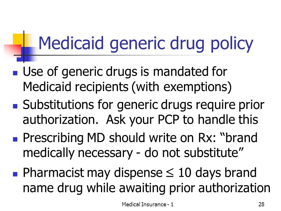 Medicaid generic drug policy