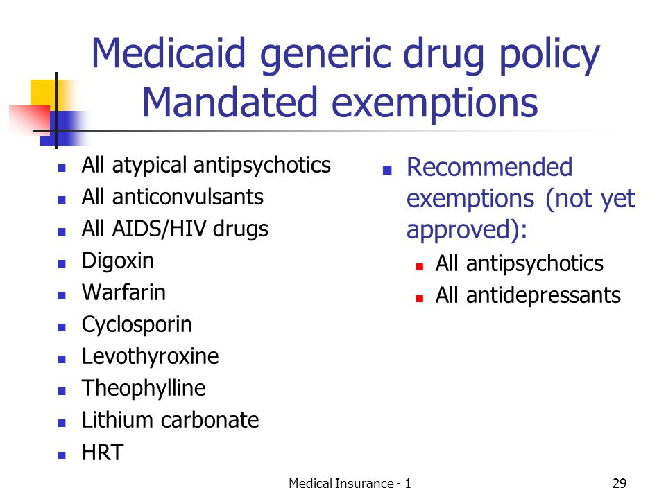 Medicaid generic drug policy Mandated exemptions