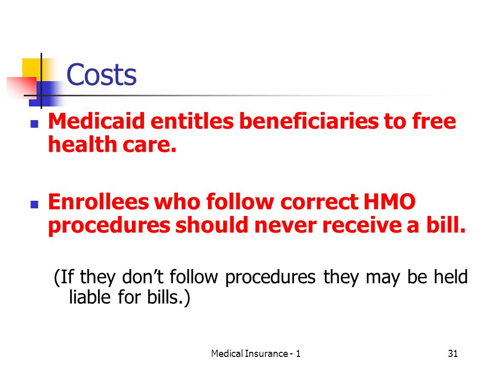 Costs Medicaid entitles beneficiaries to free health care.