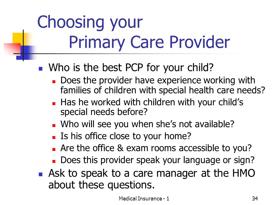 Choosing your Primary Care Provider