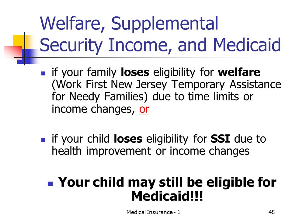 Welfare, Supplemental Security Income, and Medicaid