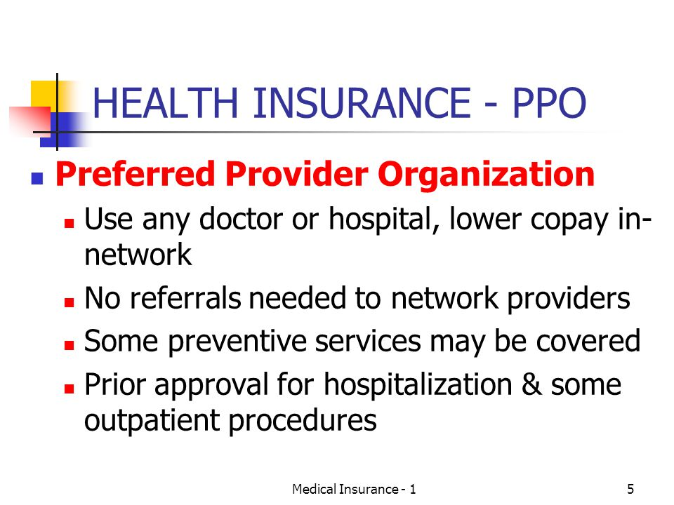 HEALTH INSURANCE - PPO Preferred Provider Organization
