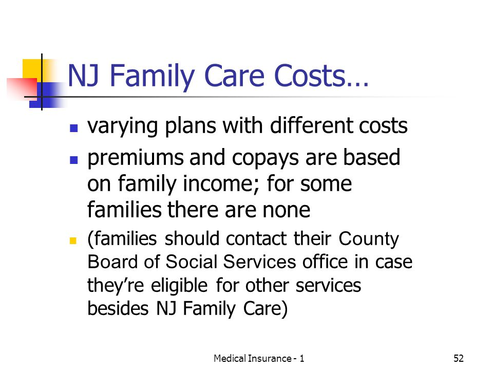 NJ Family Care Costs… varying plans with different costs