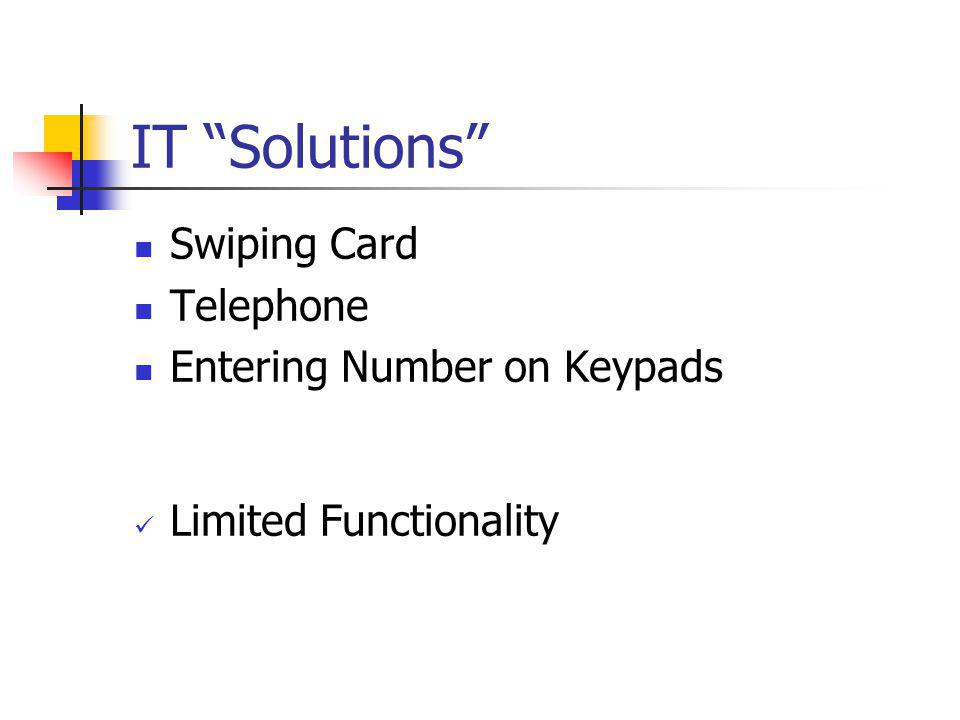 IT Solutions Swiping Card Telephone Entering Number on Keypads
