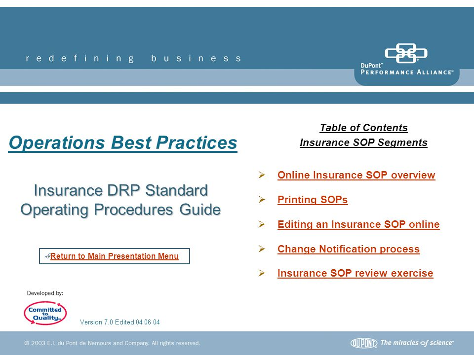 Insurance DRP Standard Operating Procedures Guide