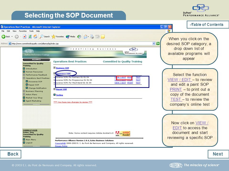 Selecting the SOP Document