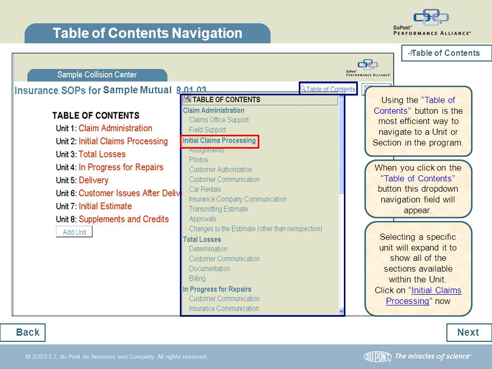 Table of Contents Navigation