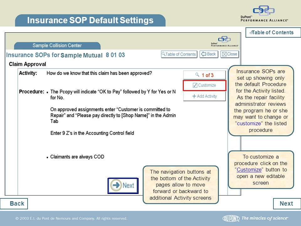 Insurance SOP Default Settings