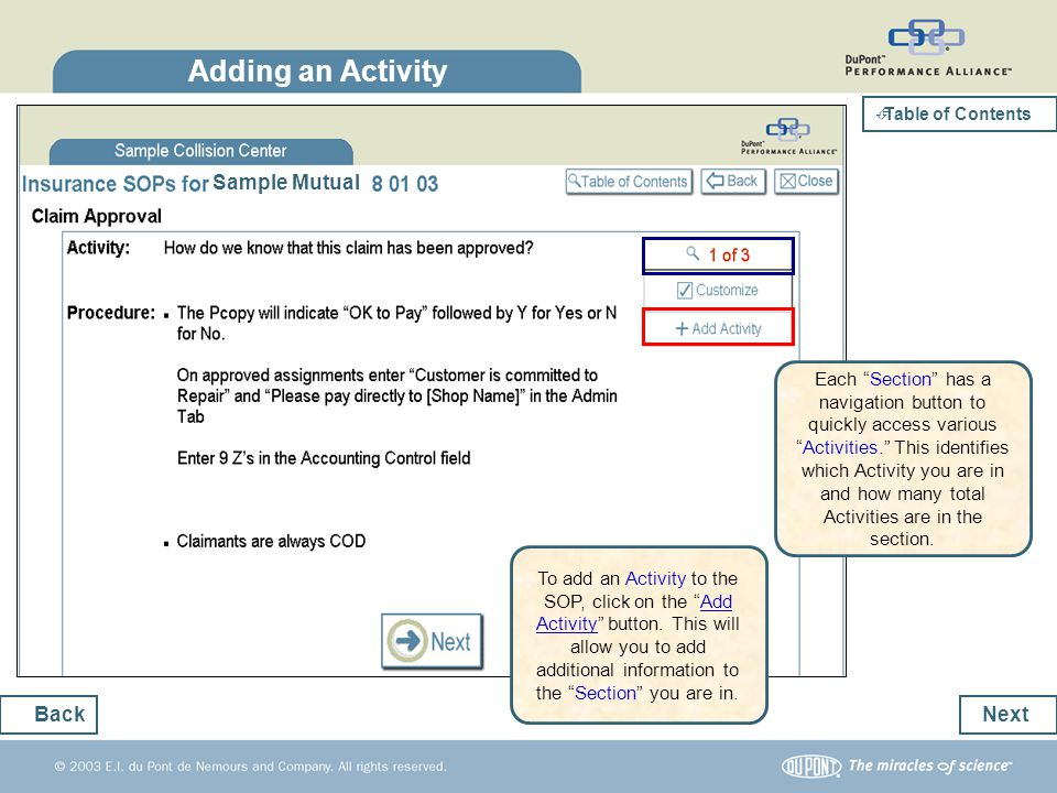 Adding an Activity Sample Mutual Back Next
