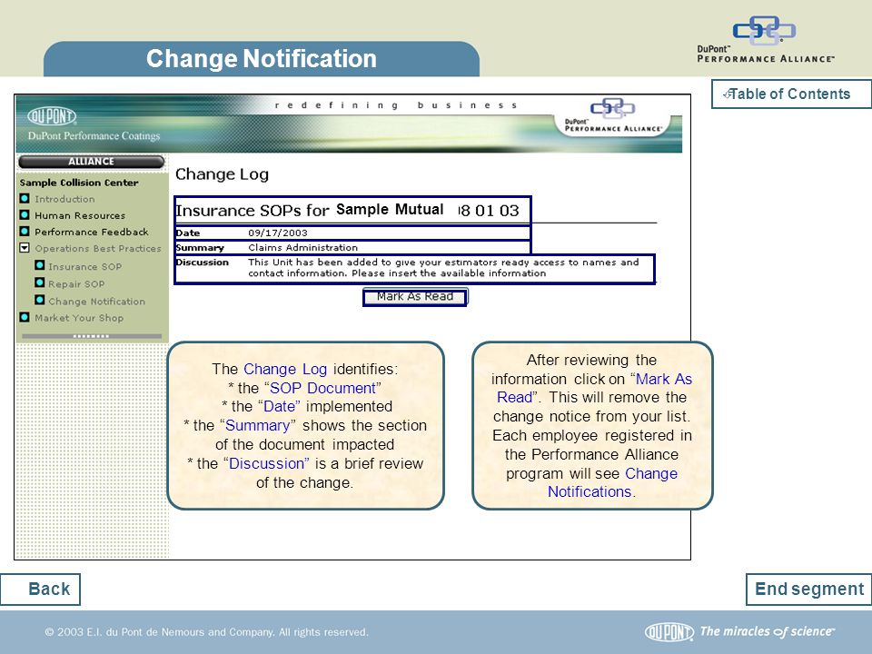 Change Notification Back End segment Sample Mutual