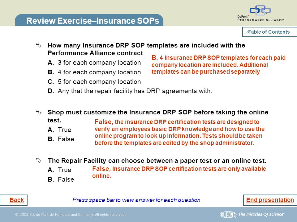 Review Exercise–Insurance SOPs