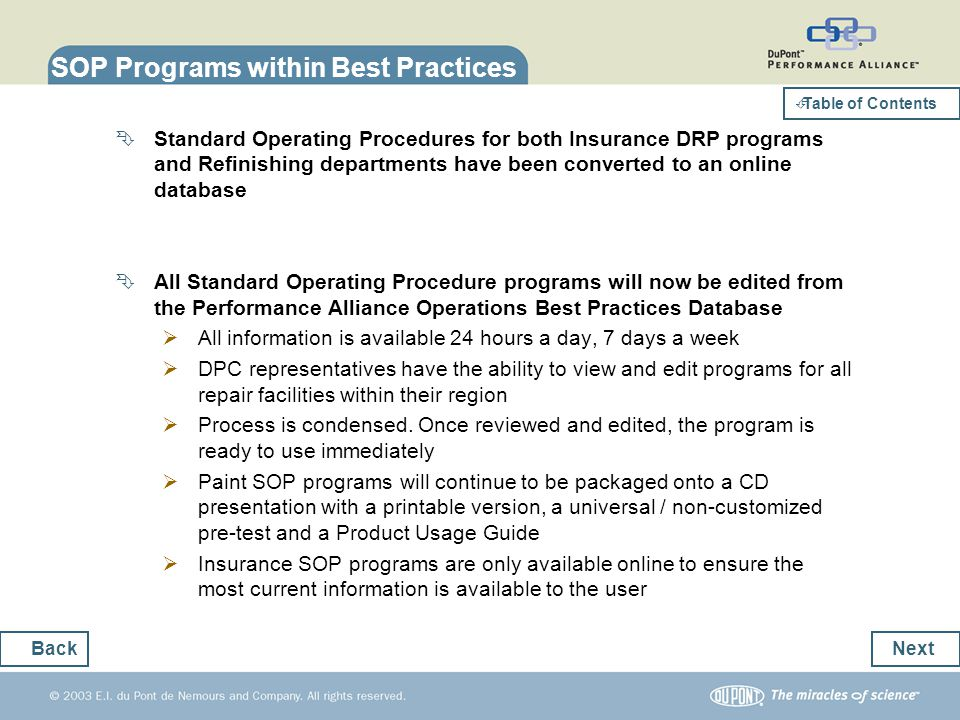 SOP Programs within Best Practices