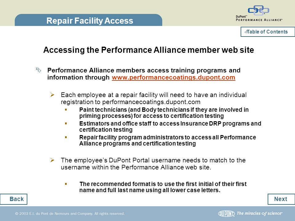 Repair Facility Access