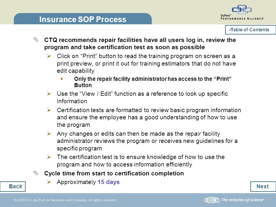 Insurance SOP Process Table of Contents.