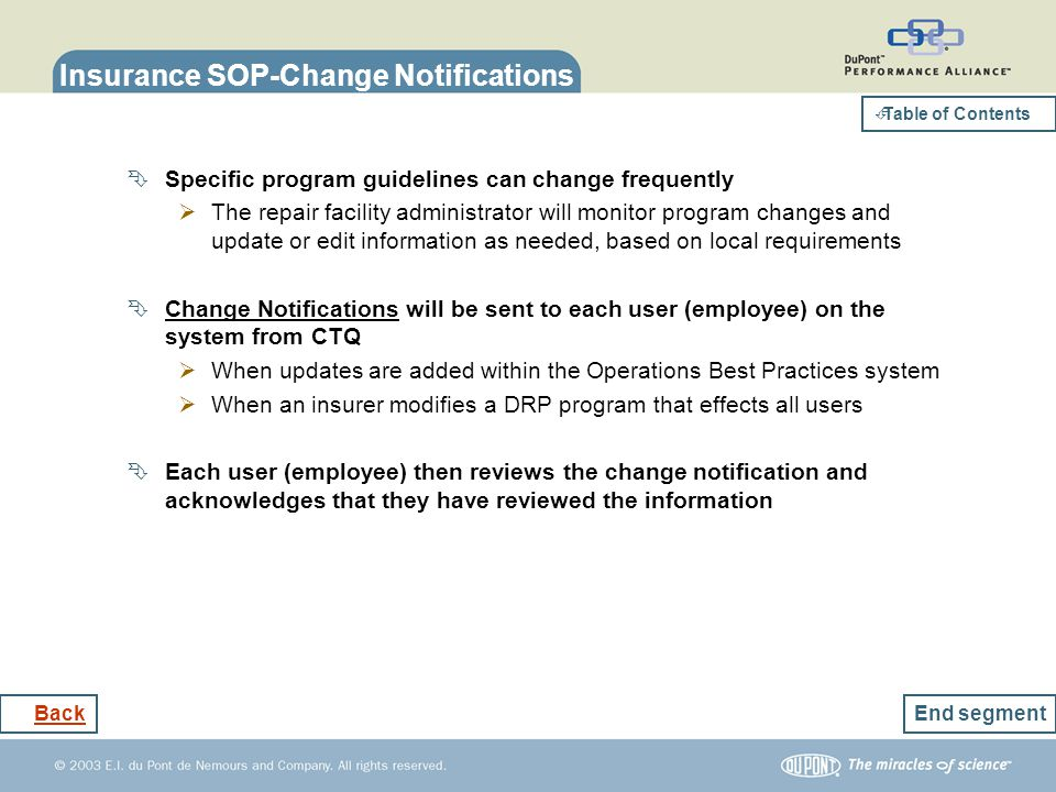 Insurance SOP-Change Notifications