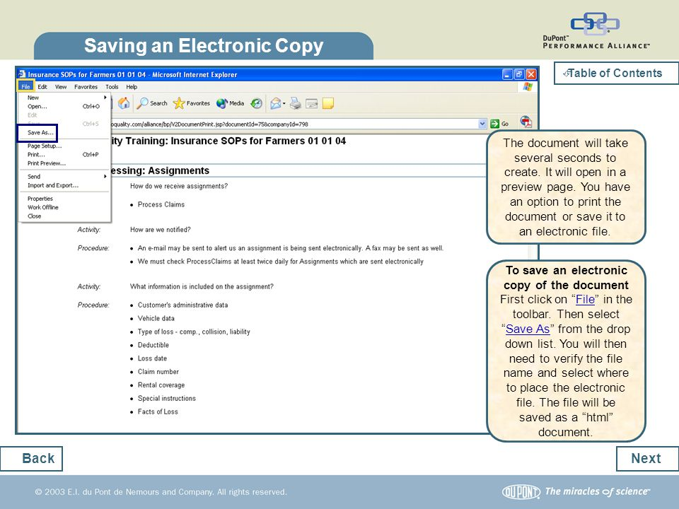 Saving an Electronic Copy