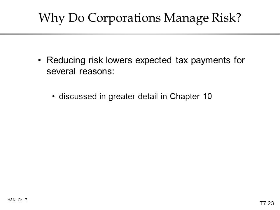 Why Do Corporations Manage Risk