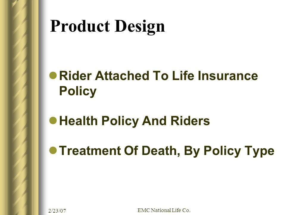 Product Design Rider Attached To Life Insurance Policy