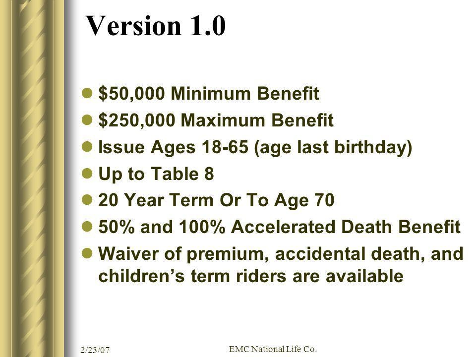 Version 1.0 $50,000 Minimum Benefit $250,000 Maximum Benefit