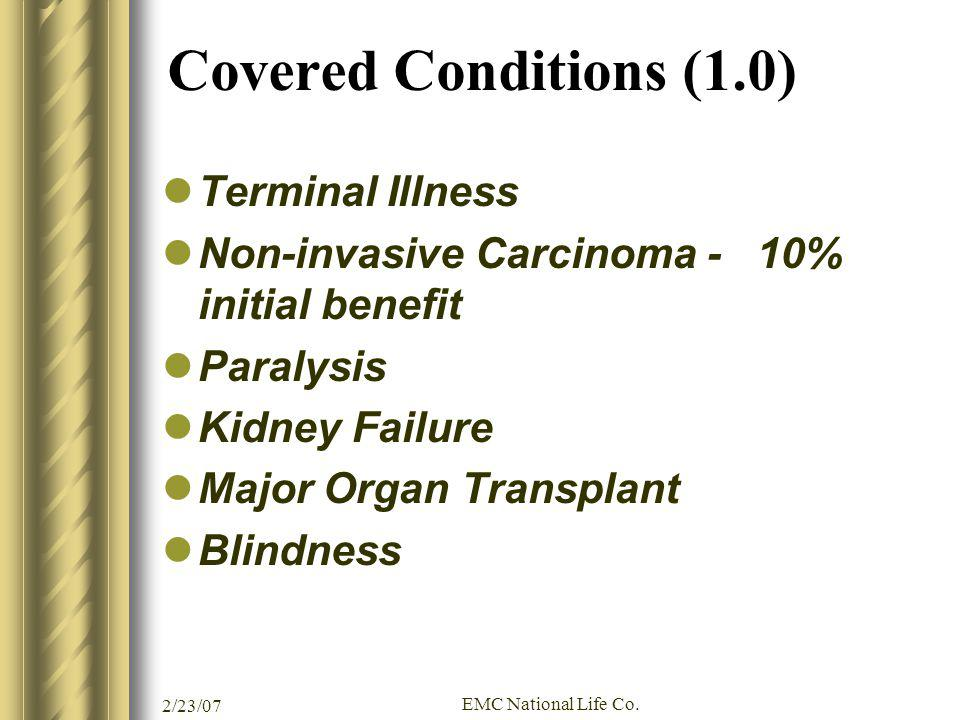 Covered Conditions (1.0) Terminal Illness