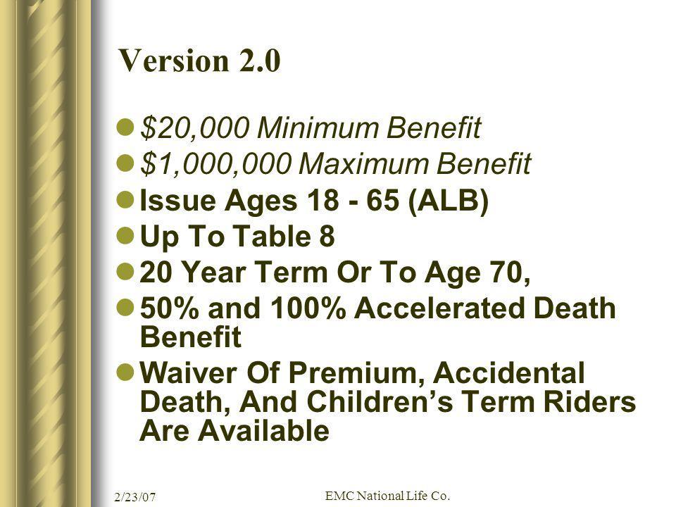 Version 2.0 $20,000 Minimum Benefit $1,000,000 Maximum Benefit
