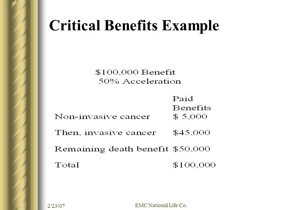 Critical Benefits Example