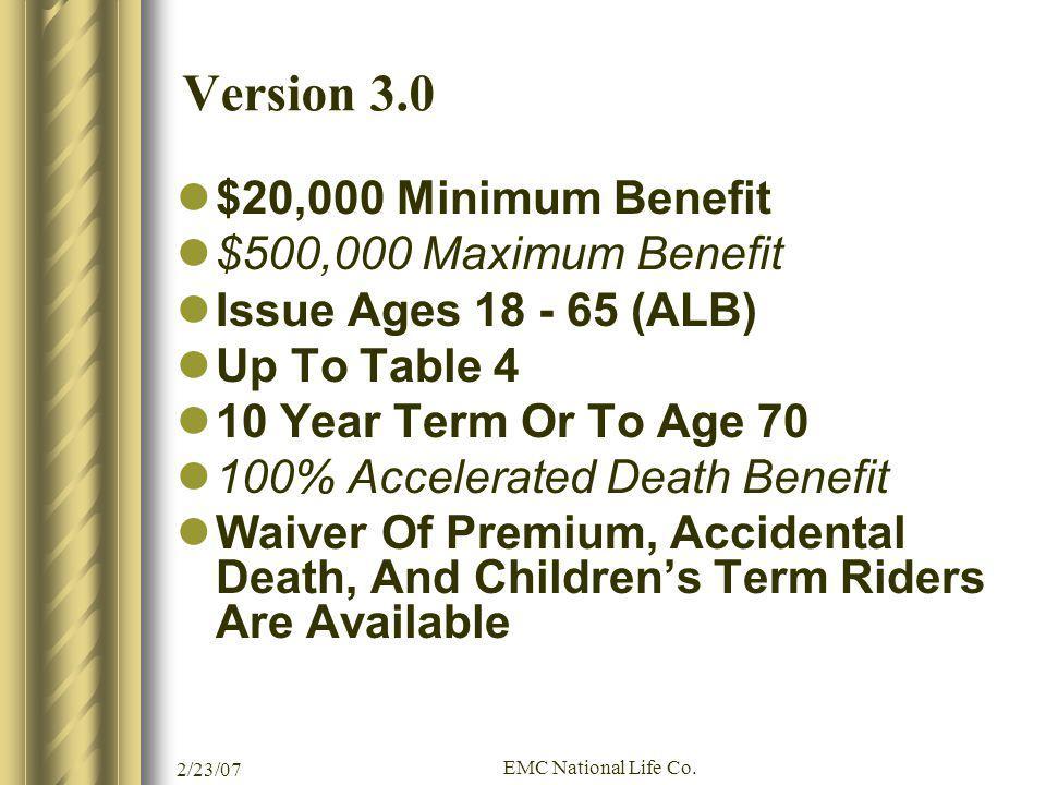 Version 3.0 $20,000 Minimum Benefit $500,000 Maximum Benefit