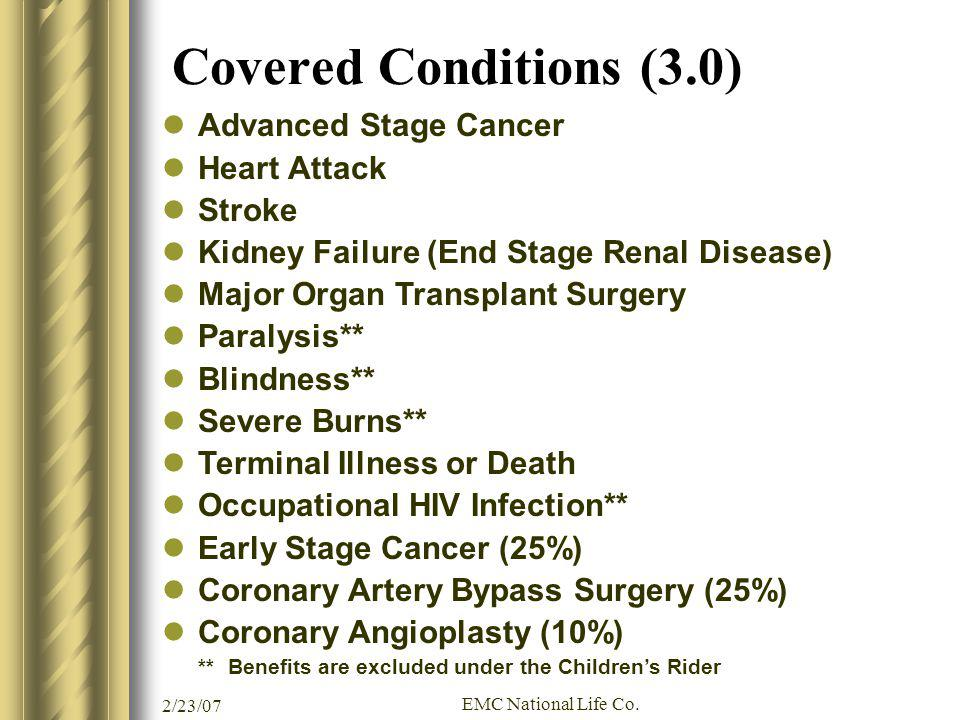 Covered Conditions (3.0) Advanced Stage Cancer Heart Attack Stroke